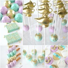 Cake Poppin' Metallic Gem Cakes, Cake Pops, dipped pretzels, pastel and metallic colros. Aladdin Birthday Party, Aladdin Party, 6th Birthday Parties, Arabian Party, Arabian Nights Party, Candy Bar Princesas, Princesas Disney, Princess Cake Pops, Princess Party