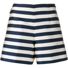 Moncler Silk Striped A-Line Shorts (31130 ALL) ❤ liked on Polyvore featuring shorts, short, high rise shorts, a-line shorts, moncler, high-rise shorts and striped shorts