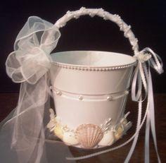 Beach Wedding Seashell Flower Girl Pail  White by artseero on Etsy, $40.00