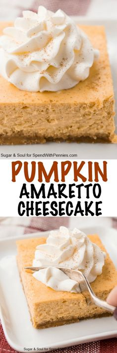 These Pumpkin Amaretto Cheesecake Bars combine the rich fall flavors of pumpkin and almonds laced throughout a rich cheesecake over a sweet graham cracker crust.