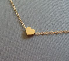 Gold Heart Necklace Tiny gold filled chain by louun on Etsy, $20.00