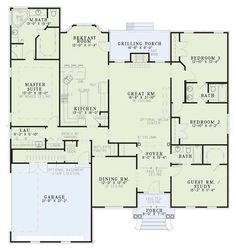 I like this floor plan because the master suite is separated and I like the guest room (i.e. optional as a study) which is right off the front door.