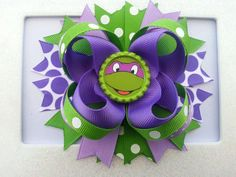 Ninja Turtles Hair Bow /Ninja Turtles Birthday Hair Bow /TMNT Hair Bow $8.99