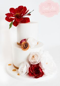 Wafer Paper Flowers Cake - Cake by My Sweet Art Wafer Paper Flowers, Wafer Paper Cake, Sugar Flowers, Cake Flowers, Tall Wedding Cakes, Sugar Cake, Cake Decorating Techniques, Decorating Ideas, Cupcakes