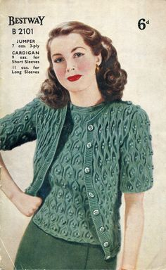 Amazing Ladies Cable Bobble Twin Set Jumper Cardigan Petite 30 to 32 Bust Bestway Vintage Knitting Pattern Amazing Ladies Cable Bobble Twin Set Jumper Cardigan Peti. Crochet Vintage, Motif Vintage, Vintage Knitting, Vintage Patterns, Baby Knitting, Beginner Knitting Patterns, Knit Patterns, Twin Set, Vintage Outfits