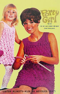 PDF Vintage Womens Ladies Girl Dress Knitting Pattern like Crochet Lister Mother & Daughter Party Groovy Oversize EASY Baby Doll Extreme Knitting, Easy Knitting, Knitting Patterns, Crochet Patterns, Vintage Knitting, Vintage Crochet, Retro Outfits, Kids Outfits, Girls Dresses