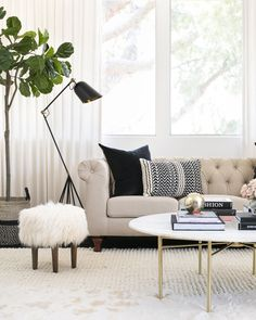 Actress Shay Mitchell and Decorist Elite Designer Stefani Stein chose The Shade Store's Ripple Fold Drapery in Linen Blend for Shay's chic office makeover. Sliding Door Window Coverings, Door Window Treatments, Sliding Glass Door, Drapes Curtains, Drapery, Vinyl Blinds, Custom Drapes, Office Makeover, Elle Decor