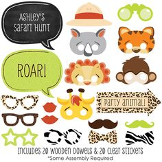 Jungle Animals Photo Booth Kit - 20 Safari Jungle Photobooth Props with Custom Speech Bubble for Funfari - Fun Safari Jungle Party - Animals Pictures Paper Wedding Decorations, First Birthday Party Decorations, Kids Party Decorations, First Birthday Parties, First Birthdays, Happy Birthday, Monkey Birthday, Party Ideas, Fall Birthday