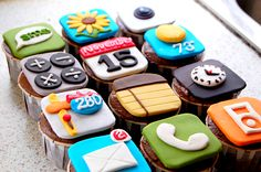 iPhone cupcakes...Love this. Looks like Mike's Groom's cake