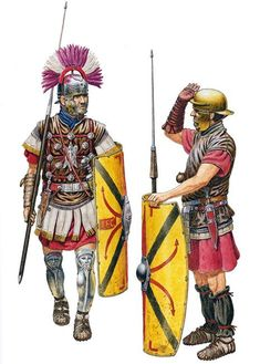 Centurion and legionary, from one of Varus's legions (XVII, XVIII and XIX), lost during the Battle of the Teutoburg Forest, 9CE.