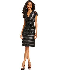 JS Collections Dress, Cap Sleeve V-Neck Ribbon Lace A-Line - Dresses - Women - Macy's