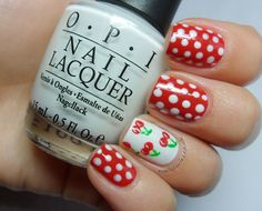 30 Amazing Dots Nail Art Ideas #Nails #NailArt red and white Polka dot  www.finditforweddings.com