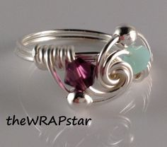 Love Ring Couples Jewelry Birth Stone Wire Wrapped by theWRAPstar, $16.50