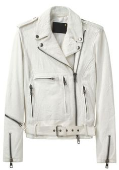 R13 white leather biker jacket