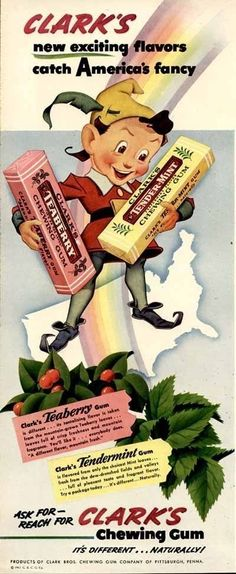 1942 Clark's Teaberry Chewing Gum Ad
