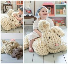Arm Knit Pattern Bunny Giant Knit Bunny Bunny Patterns And Crochet, Giant Arm Knit Bunny By Anne Weil Of Flax Twine Sweet Paul, Giant Knit Bunny Flax Twine, Arm Knitting, Knitting Patterns, Crochet Patterns, Giant Knitting, Knitting Needles, Crochet Toys, Knit Crochet, Tear, Knitted Blankets