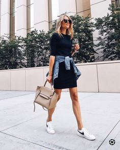 New How To Wear Nike Shoes Outfits Street Style 43 Ideas Dress And Sneakers Outfit, Black Dress Outfits, Date Outfits, Casual Dresses, Casual Outfits, Summer Outfits, Fashion Outfits, Black Tshirt Dress Outfit, Casual Date Outfit Summer