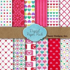 ---> 12 FREE Digital Papers for Valentine's Day!!