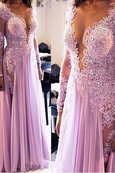Long Sleeve Prom Dress, Lace