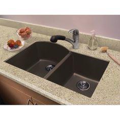 Transolid Aversa 31 5 X 20 Granite Double Offset Undermount Kitchen Sink Finish Espresso