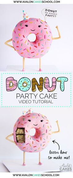 Learn how to make this gravity defying Donut CAKE! She's cute, she's got style… Learn how to make this gravity defying Donut CAKE! She's cute, she's got style (look at those kicks!) and she is a HOLE lotta fun. Cake Decorating Books, Cake Decorating Techniques, Cake Decorating Tutorials, Gravity Cake, Gravity Defying Cake, Donut Party, Cupcakes, Cupcake Cakes, Tutorials