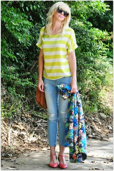Loving Coury Combs playful mix of florals and stripes paired with Cool as a Cucumber in coral.