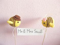 Bee Wedding Theme Mr and Mrs Cake Topper Bumble Bee by cherrytime