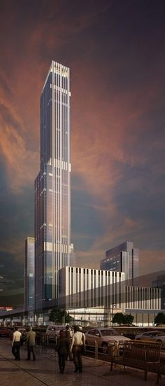 Abu Dhabi Plaza, Astana, Kazakhstan by HKR Architects :: 75 floors, height Commercial Architecture, Facade Architecture, Amazing Architecture, Interesting Buildings, Amazing Buildings, Modern Skyscrapers, Eco City, Future Buildings, Dubai