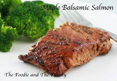 Maple Balsamic Salmon from Fast Paleo. Marinated in the sauce overnight and only basted once. Salmon Recipes, Fish Recipes, Seafood Recipes, Cooking Recipes, Recipies, Cooking Ideas, Balsamic Salmon, Maple Balsamic, Balsamic Glaze