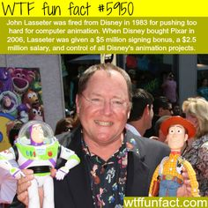 John Lasseter was fired from Disney in 1983 for pushing too hard for computer animation. When Disney bought Pixar in 2006, Lasseter was given a $5 million signing bonus, a 2.5 million salary, and control of all Disney's animation projects. #inspiration #winning #Disney