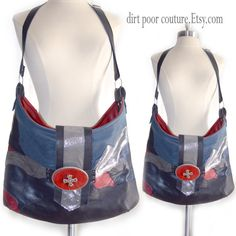 Leather  Navy Blue  Red  Patchwork  Boho  Bag  by DirtPoorCouture