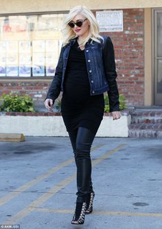 Before: A pregnant Gwen pictured in January, a month before giving birth