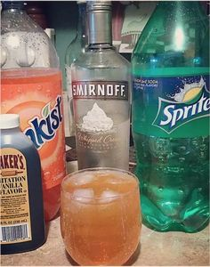 22 Bizarre Alcohol Combinations That Actually Taste Amazing I did a lot of whipped cream vodka, OJ, and a dash of sprite in college. Tasted just like a Whipped Vodka Drinks, Vodka Mixed Drinks, Whipped Cream Vodka, Party Drinks Alcohol, Liquor Drinks, Alcohol Drink Recipes, Cocktail Drinks, Fun Drinks, Alcoholic Drinks