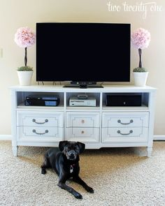 Turning an old dresser into a TV stand is a great way to kill two birds with one stone. You get a new TV stand and you get to make use of that old dresser. Missing drawers are no problem. You can just use the space to hold gaming systems, satellite boxes or Blu-Ray players.