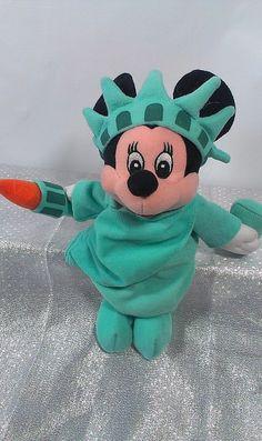 Walt Disney Statue of Liberty Minnie Mouse Bean bag Stuffed Plush Beanie Torch  #WaltDisney