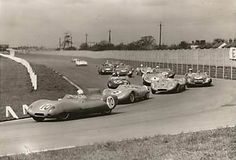 Blumers Lotus 11 leads Gammons Lola Mk.1 & Taylors Lola Mk.1   Aintree  200 MEETING,  1959.
