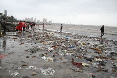 Garbage scattered on the sea beach!