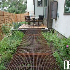 Open Envelope Studio   cedar bistro deck, steel grate walkway, and steel…