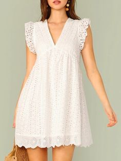 Ruffle Armhole Eyelet Embroidered Smock Dress Designer dresses Fashion outfits Dress skirt Mom dress African dress Clothes for women Smock Dress, Tee Dress, Ruffle Dress, Striped Dress, Eyelet Dress, Smocked Dresses, Babydoll Dress, Maxi Dresses, Dress Skirt