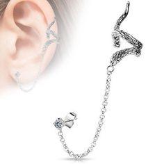 Flying Dragon Design WildKlass Ear Cuff with Chain Linked Clear CZ set Stud Ear WildKlass Rings (Sold by Piece) Piercing Labret, Piercing Cartilage, Ear Peircings, Fake Piercing, Ear Jewelry, Body Jewellery, Jewlery, Dragon Ear Cuffs, Snake Ears