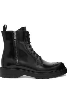 Prada - Leather Ankle Boots - Black - IT36.5