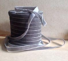 pewter grey velvet ribbon