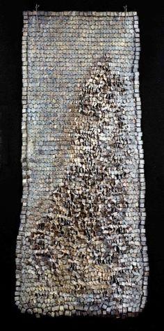 "Olga de Amaral, Colombia,  ""Sombra 10"" - 2002 Fiber, gesso, silver leaf, acrylic paint  60 x 26 inches"