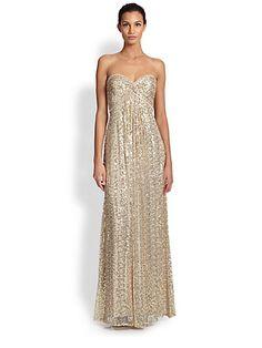 La Femme - Strapless Sequin Empire Gown - Saks.com