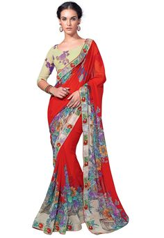 #Red #Georgette #Saree With #Blouse.  #Red #Georgette #Saree #designed with #Lace #Border Work. As shown Sea Green Georgette Blouse fabric.  INR:1,027.00  With Exclusive Discounts.  Grab: http://tinyurl.com/gqp6hc7