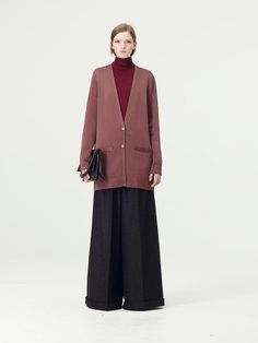 COS - a less extreme version of this. Like the wide pants but want them shorter, shorter cardigan too, and different colours.