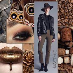 2015 yılının trend renklerinden kahverengi ve tonları ile güçlü kombinler #ngstyle'da  #combination #moda #trend #fashion