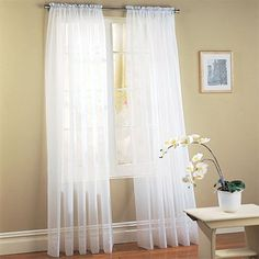 MONAGIFTS WHITE Voile Window Panel Solid sheer valance cu…