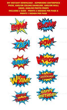 Superhero Party Supplies, Diy Party Supplies, Superhero Birthday Party, Avengers Birthday, Happy Birthday, Colorful Centerpieces, Party Centerpieces, Dangler Design, Superhero Centerpiece