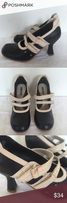 Kenneth Cole Unlisted White Black Mary Janes 6 Size 6. Retro old school black and white striped Velcro Mary Janes by Kenneth Cole (Unlisted). Barely worn. Some glue stain on one side and a little dirty on the back. Non slid soles and super comfortable.  TONS more shoes in my closet! Save 15% and shipping when you bundle!  Tags: retro, 90s, date night, raver, heels, shoes, club Unlisted Shoes Heels